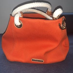 Orange MICHAEL KORS canvas rope bag purse